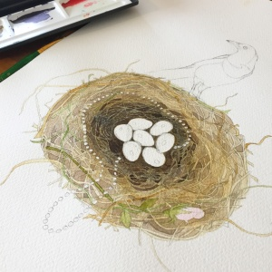 A close up of the magpies nest painted